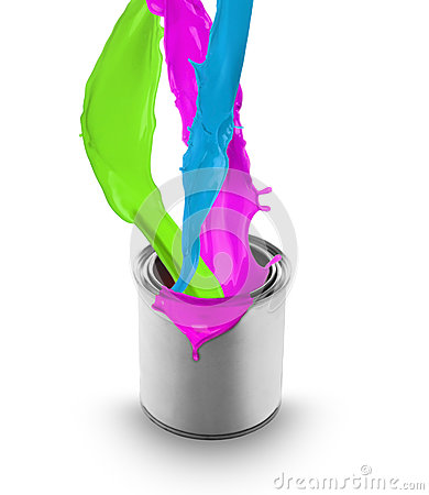 Colored paint splashing out of can
