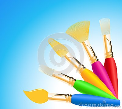 Colored paintbrushes