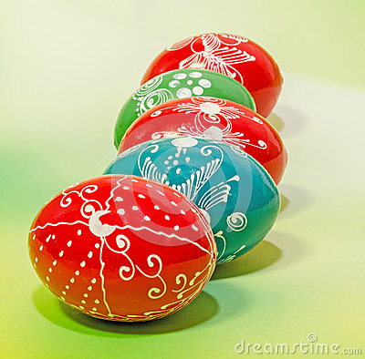 Free Colored Painted Romanian Traditional Easter Eggs, Close Up, Gradient Background Stock Images - 52413144