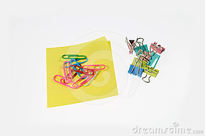 Colored paper clips and color clip