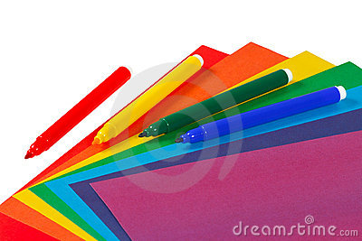 Colored paper and markers for creativity