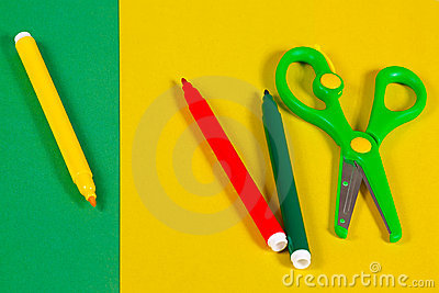 Colored paper, markers and scissors for creativity