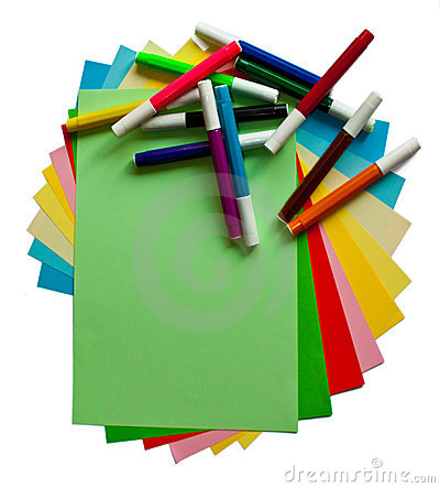 Free Colored Papers And Markers Stock Images - 13796254