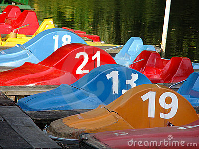 Colored pedal boats