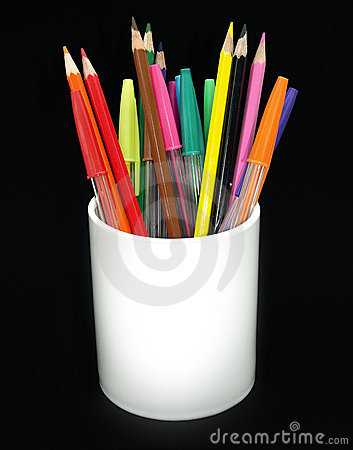 Free Colored Pencils And Pens In A Jar Royalty Free Stock Photography - 5268167
