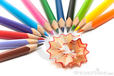 Colored pencils arranged in semi-circle