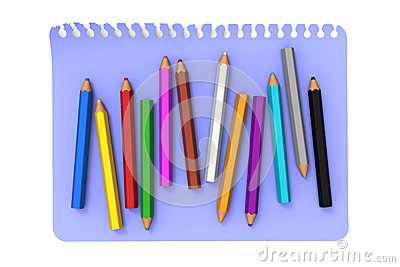 Colored pencils on blue note message paper