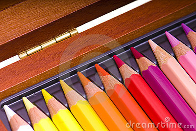 Colored pencils in a box
