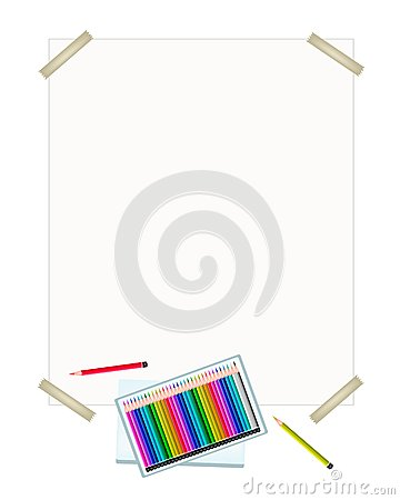 Colored Pencils in A Box on White Paper