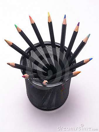 Colored Pencils in Can 1