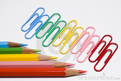 Colored pencils and clips
