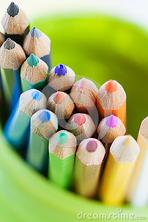 Colored Pencils in a Green Jar