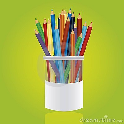 Colored pencils in pencil holders