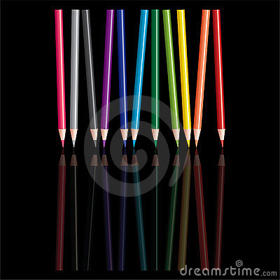Colored pencils with reflection