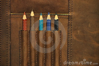Colored pencils in satchel