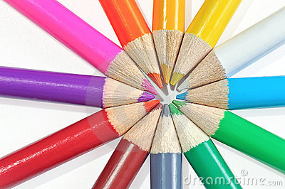 Colored pencils set on white