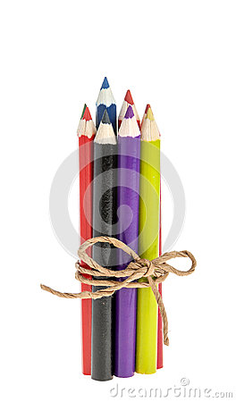 Colored pencils tied with a rope