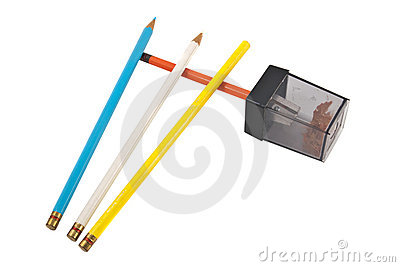 Colored Pencils w/Sharpener, isolated