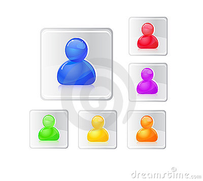 Colored people icon set.