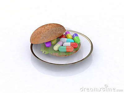 Colored pills in the sandwich