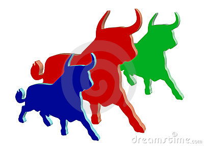 Colored plastic bulls