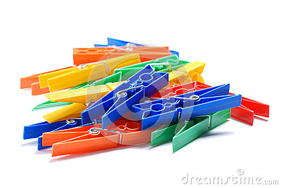 Colored plastic clothespins