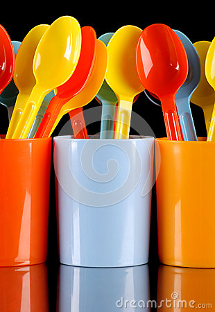 Colored plastic spoons