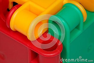 Colored plastic toys closeup