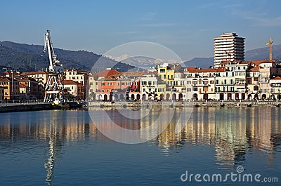 Colored reflections on the water,old port Imperia