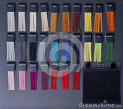 Colored samples of fabric