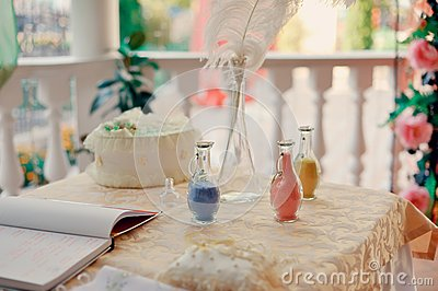 Colored sand in bottles