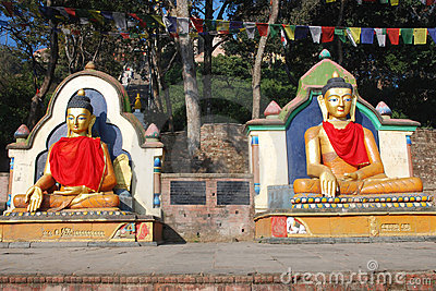 Colored seated Buddha statues -Swayambhunath-Nepal