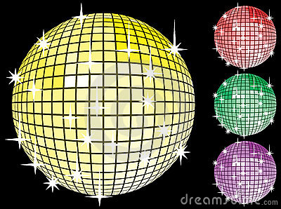 Colored set of mirror disco-balls.