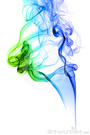 Colored smoke on green and blue
