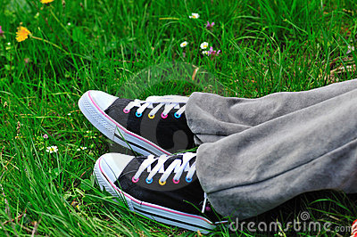 Colored sneakers in the grass