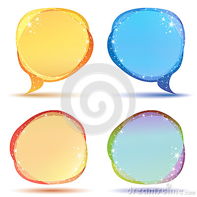 Colored speech bubbles with sparkles