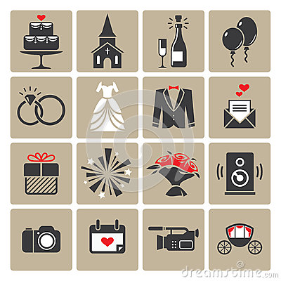 Free Colored Square Wedding Icons Stock Photos - 48871563