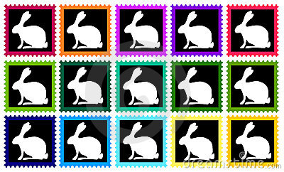 Colored stamps with white rabbits