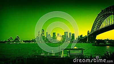 Colored sydney landmarks