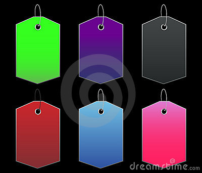 Colored tags - 9 - on black