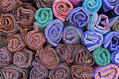 Colored textile in a traditional south east asia. Thailand.