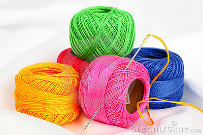 Colored thread, needles