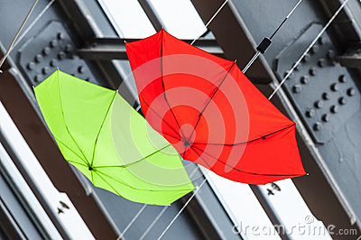 Colored umbrellas abstract