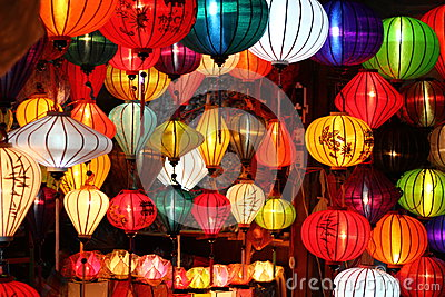 Colored vietnamese silk lanterns