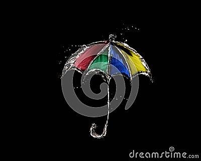 Colored Water Umbrella on Black