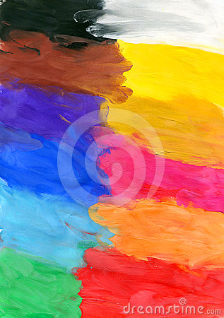 Colored watercolor brush strokes