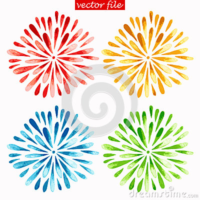 Free Colored Watercolor Sunburst Flowers Stock Photos - 43772043