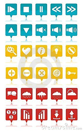 Colored web icons set