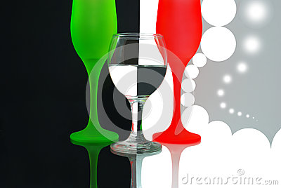Colored Wine Glasses On Black White Background Stock