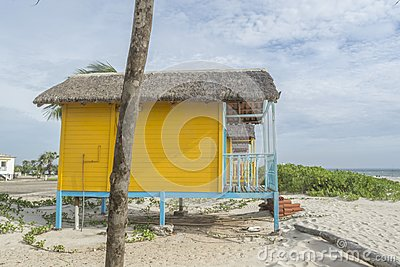 Colored wood beach rural houses Stock Photo